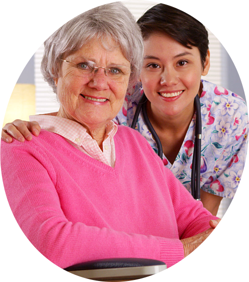 Cheerful Old Woman with Nurse
